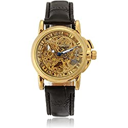 FACILLA® Men Women Steampunk Automatic Mechanical Wristwatch Skeleton Self-Winding Mechanical Movement Leather Band Wristwatch Business Watch