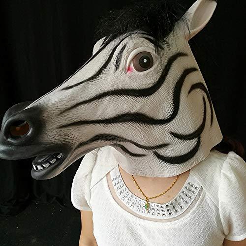 WSJDE Latex Pferdekopf Vollkopfmaske Feiern Halloween Grusel Party Zubehör Lustige CosplayKostüm Party Tier - Lustige Jesus Kostüm