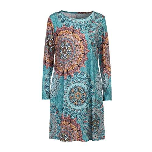 AmazingDays Chemisiers T-Shirts Tops Sweats Blouses,Femme Long Manches Vintage Bohème Maxi Soirée Beach Robe Florale Multicolore