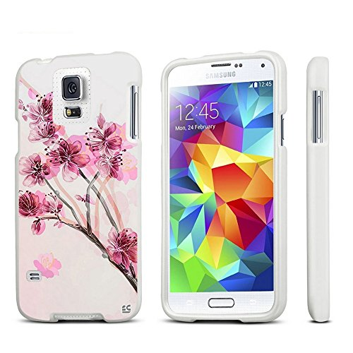 amsung Galaxy S5Fall, S5Schutzhülle, Ultra Slim Design 2Stück Snap on Hard Gummierte Handy Tasche, Pink Cherry Blossom-Weiß ()