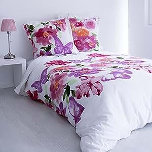 Enjoy Home Parure Housse de Couette et 2 Taies Flower, Coton, Multicolore, 240x220 cm