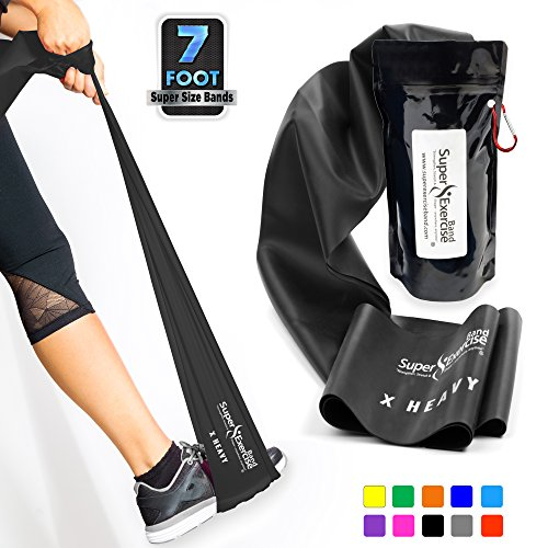 Super Übungsband 7 ft. Lang Widerstand Bands. Latexfrei Home Gym Fitness Equipment für Physiotherapie, Pilates, Stretch, Yoga, Stärke Training Workout. Licht, mittel oder Heavy Tension., X HEAVY STRENGTH BLACK -