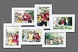 WOLTU BR9742 Bilderrahmen , Holz Rahmen , 6 Fotos Collage , Für Bilder 10x15 cm , Roulette Design , Weiss