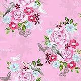Pretty Nostalgic Retro Vlies Tapeten Vögel Blumen rosa bunt 138120