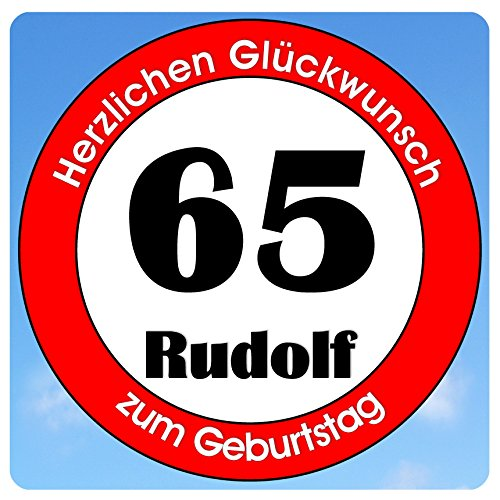 bedrucktes Aluschild 305 x 305 mm - Motiv Geburtstag 65 mit Wunschnamen und Wunschalter