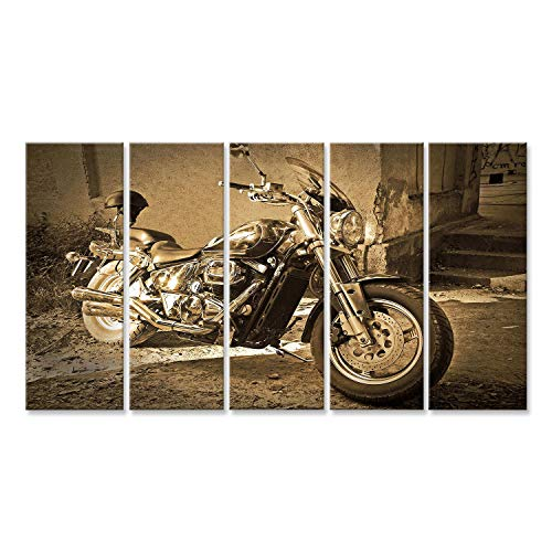 islandburner Bild Bilder auf Leinwand Chopper Motorrad Sepia Vintage Poster, Leinwandbild, Wandbilder
