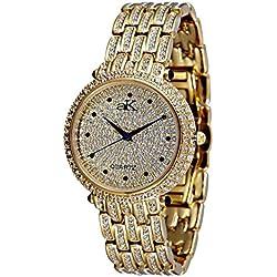 Adee Kaye Prima Donna Damen Gold Keramik Armband Keramik Gehäuse Uhr AK9-67LG