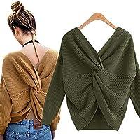 LanLan Suéter de Moda para Las Mujeres, suéter sin Espalda con Cuello en V para Mujeres, Jersey de Moda 2018 últimos Modelos None Ejercito Verde