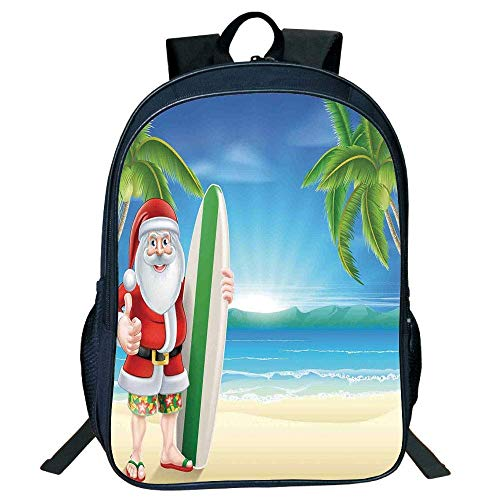 HOJJP Schultasche Stylish Unisex School Students Black Christmas Decorations,Santa Claus Trunks on Beach Surfboard Sunny Hot Christmas Decor,Blue Green Kids,