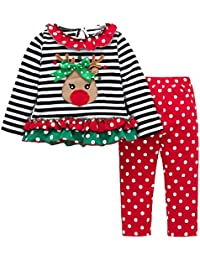 Boomboom Baby Girls' Christmas Dress Lovely Flare Bow Long Sleeve Cartoon Printed Dot Dresses/Clothes Set