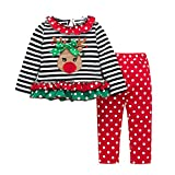 Mbby Tute Bambina Natale 1-4Anni Ragazza Bambino Set Maglietta + Pantaloni Cotone Caldo Tute 2 Pezzi Fumetto Outfits Animale Invernale Autunno Natalizi Natalizio
