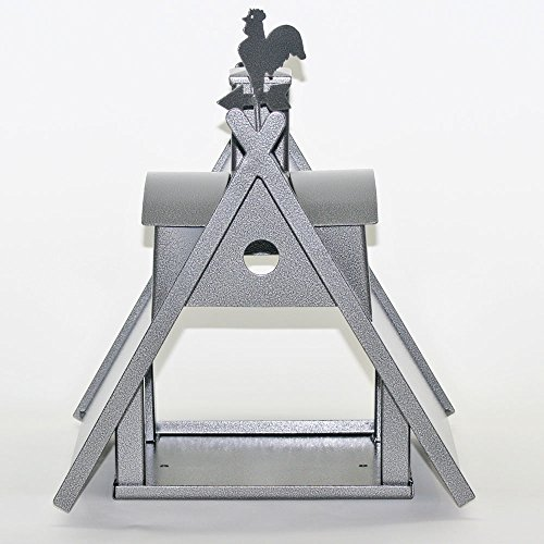 Vogelhaus XXL mit Ständer aus Metall (Farbe: silber-antik) - 4