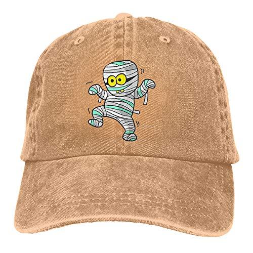 (Doodle Cartoon Mummy Halloween Verstellbare Gewaschene Vintage Baseballmützen Trucker Hat)