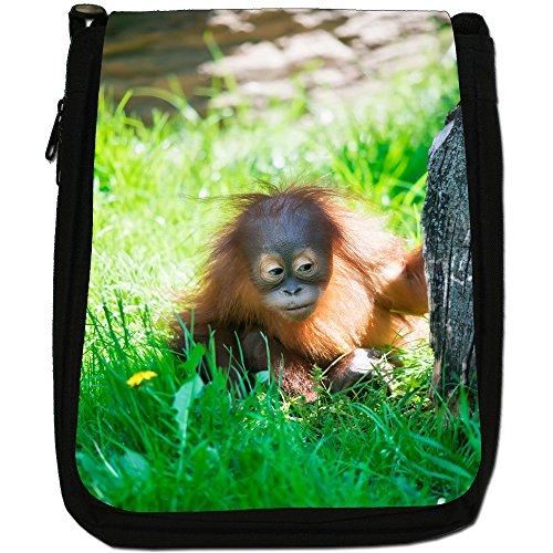 Orangutan Scimmia primati animali Medium Nero Borsa In Tela, taglia M Hiding Baby Orangutan