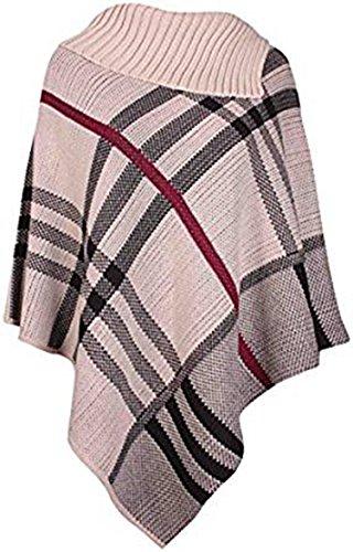 Friendz Trendz -Women vérifier tricoté tartan châle cardigan cape poncho Stone
