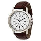 LUCERNE White Dial Brown Leather Strap A...