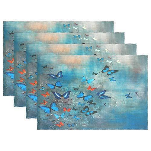 Promini Hitzebeständige Tischsets, Blaue Schmetterlinge, waschbar, Polyester, Rutschfest, waschbar, Tischsets für Küche und Esszimmer, 4 Stück (Altima Grill Nissan)