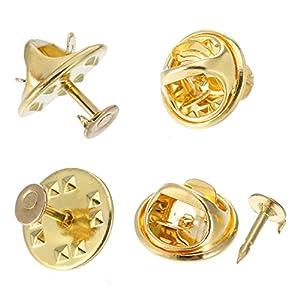 100 Paare Schmetterling Krawatte Reißzwecken Pin Rücken Ersatz mit Leeren Pins für Handwerk Herstellung, Golden