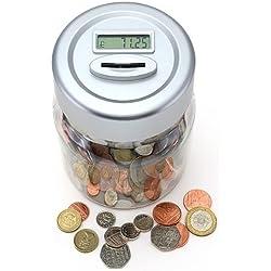 Hucha con contador de monedas digital, pantalla LCD