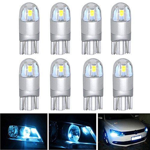 AREOUT 8 Pack Car Styling T10 LED Light bulbs W5W 3030 2SMD 168 194 Auto Lamps Interior Lights (White)