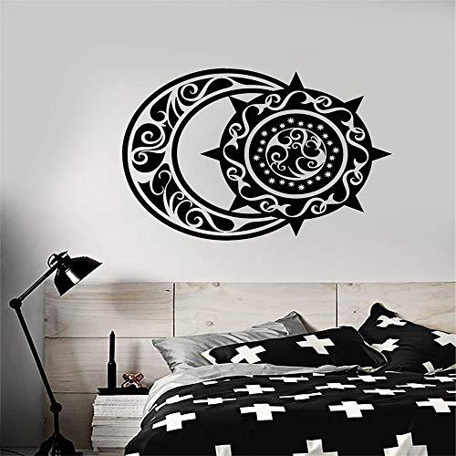 kyprx Vinyl wandtattoos ethnischen Stil halbmond und Sonne Schlafzimmer Wohnzimmer wohnkultur kunstwand tapete lila 56x42 cm