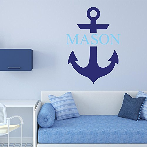 PERSONALISED NAME NAUTICAL BLUE ANCHOR LOUNGE BEDROOM WALL STICKER DECAL  VINYL MURAL WALL ART DECORATION (REGULAR)