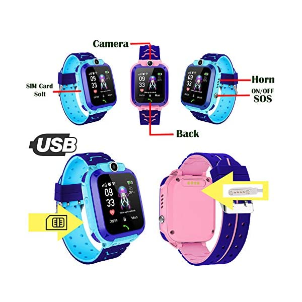 Smartwatch Niños IP67 Impermeable - AGPS LBS Tracker Localizador Reloj Inteligente Niños, Smartwatch Niña con Cámara SOS Chat de Voz Juego Alarma, Reloj Inteligente Niña Compatible con iOS Android 7