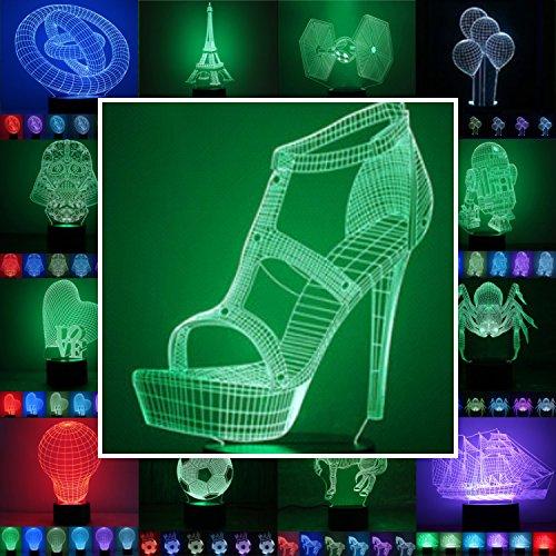 3D Lampe 3D Leuchte 3D LED Stimmungslicht. 7 verschiedene Farben wählbar - Auswahl aus 81 verschiedenen Motiven, hier High Heel ca.20x15cm inkl.Sockel - 3D Illusion Dekolicht mit USB Anschluß und 220V USB Netzteil (High Heel-taste)