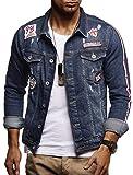Leif Nelson Herren Jeans-Jacke mit Knopf Casual Freizeitjacke Slim Fit Männer-Übergangsjacke Stretch Langarm Das Beste in Kleidung Männer LN9515; Größe M, Blau