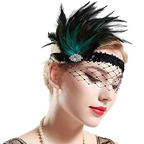 ArtiDeco 1920s Stirnband Feder mit Abnehmbarem Netz Damen 20er Jahre Fascinator Stil Flapper Charleston Haarband Great Gatsby Damen Fasching Kostüm Accessoires (Schwarz Grün)