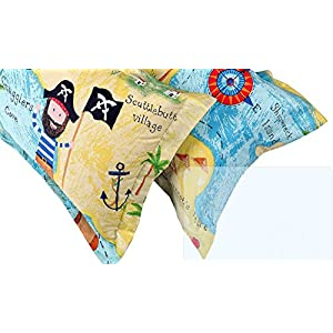 MeMoreCool Home Textile con diseño dibujos animados piratas 100% algodón cielo Azul Niños/niños ropa de cama, funda de edredón de mapa del tesoro, suave hoja plana, doble, 3PC, algodón, muiti-color, Plein