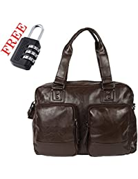 XENSA Genuine LEATHERite Stylish Large Travel Tote Oversized DUFFLE Luggage Bag 45 LTR-Black-#Shetty Group