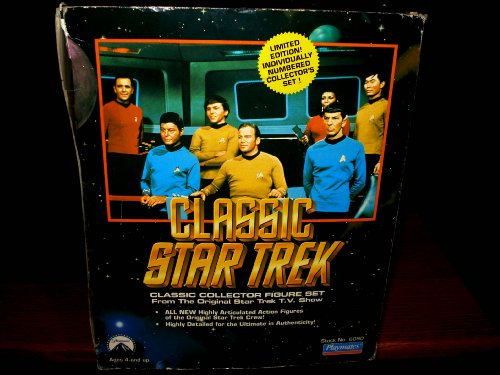 Star Trek Enterprise Classic Bridge mit Captain James Kirk, Uhura, Spock, Checkov, Pille, Sulu und Scotty von Playmates