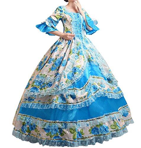 Nuoqi® Femmes Satin gothique victorien princesse robe Halloween Fancy Dress Cosplay Costume CC2377F