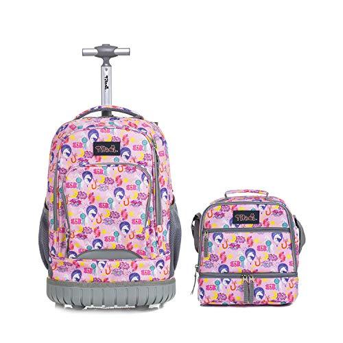 Schultrolley mit Lunchtasche für Mädchen,Tilami Schultrolley Schultaschen Schulrucksack mit Kühltasche Isoliertasche für Kinder Junge und Mädchens Klasse 3-12 Einhorn
