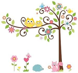 adesivi murali Gufi in un albero vivacemente colorato per ...