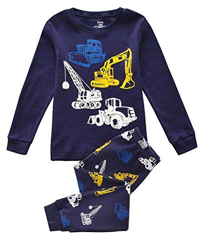 Tkiames Jungen Schlafanzug Langarm Herbst Winter Kinder Nachtwäsche Pyjama Sets 98 104 110 116 122 128 134 (Fleece Pyjama-hosen Jungen)
