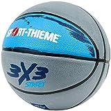 Sport-Thieme Streetball-Basketball 3x3 | Outdoor-Basketball u. Indoor Trainings-Basketball | Max. Grip, Wetterfest, Robustes Gummigemisch | Größe 6 | 600 g | Grau-Blau | Markenqualität