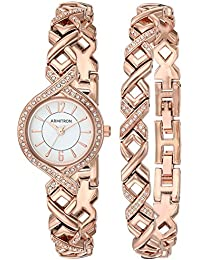 Armitron Women's 75/5412WTRGST Swarovski Crystal Accented Rose Gold-Tone Watch and Bracelet Set