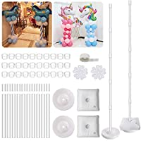 2 Set Balloon Column Kit Base Stand and Pole 61 inch Height [UPGRADED] + 30Pcs Balloon Rings, Balloon Tower Decoration for Birthday Party Wedding Party Event Decorations