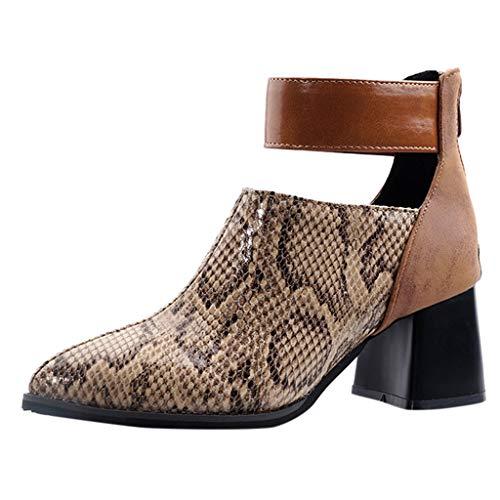 Knöchel Bootie Boot (Stiefeletten Damen Stiefel Chelsea Boots Ankle Leder Blockabsatz Kurzschaft Absatz Schuhe Elegant Kurze Regenstiefel Gummistiefel Boots Booties mit Reißverschluss (EU:40, Braun))