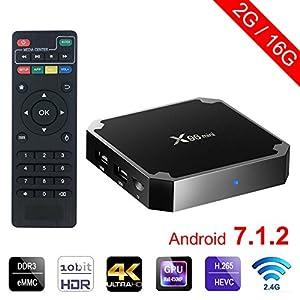 Sawpy X96 Mini Android TV Box Android 7.1 4K Smart TV Box 64bit Quad Core CPU 2GB +16GB with Wifi