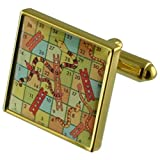 Select Gifts Brettspiel Snakes Ladders Goldene Manschettenknöpfe personalisiert graviert box