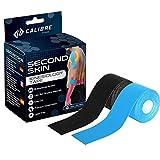 Calibre Fitness Second Skin Due Rotoli di Nastro kinesiologico - Sostegno articolazioni con capacità di Resistenza sviluppato scientificamente - Doppio Pacco (Nero + Blu)