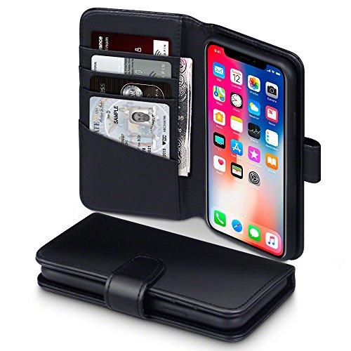 iPhone X Cover, Terrapin di Vera Pelle Della Cassa del Raccoglitore con Funzione di Appoggio Posteriore per iPhone X Custodia Pelle, Colore: Nero