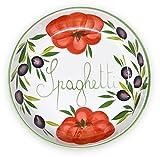 Lashuma handgemachte Nudelschale aus Italienischer Keramik im Tomatendesign, runde Pastaschüssel ca. 28 cm, ca. 3 cm tief
