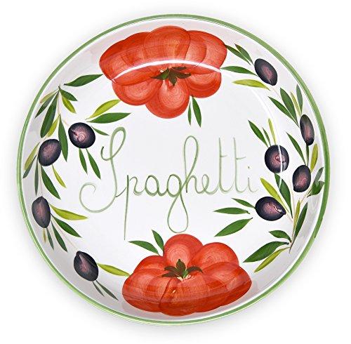 Lashuma handgemachte Nudelschale aus Italienischer Keramik im Tomatendesign, runde Pastaschüssel ca. 28 cm, ca. 3 cm tief (Pasta-schalen Keramik Italienische)