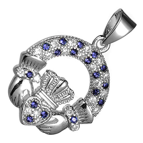 GWG® 18K Weißgold plattierte Claddagh Ring Anhänger-Halskette für Frauen mit Saphir-Blauen Zirkonia Steinen besetzt