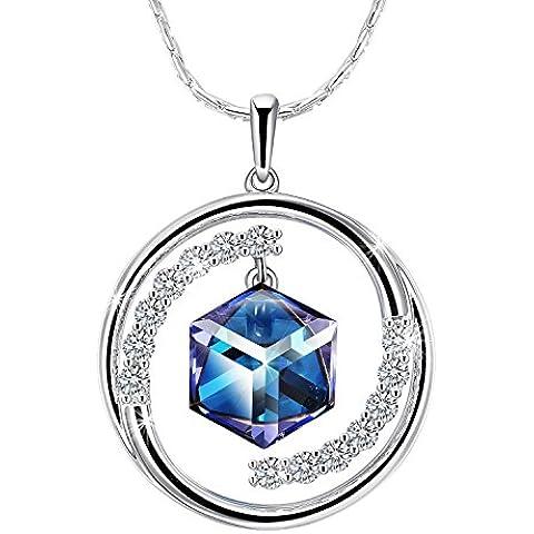 Adan Banfi Circle Ciondolo a fiocco di neve con cristalli austriaci, colore: blu