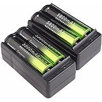 STRIR Batería recargable 4X 5800mAh Li-ion 18650 3.7V + Cargador inteligente 2X